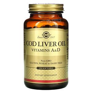 Solgar, жир печени трески, витамины A и D