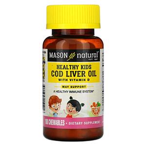 Mason Natural, Healthy Kids, жир печени трески с витамином D, искусственный ароматизатор «Апельсин»