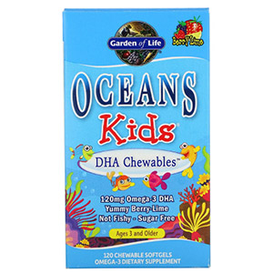 Garden of Life, Oceans Kids, DHA Chewables, от 3 лет и старше, вкус ягод и лайма, 120 мг
