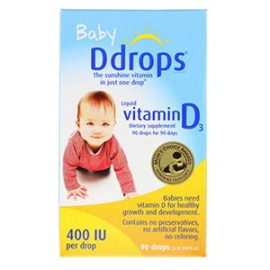Ddrops, Для детей, жидкий витамин D3, 400 МЕ, 90 капель, 2,5 мл