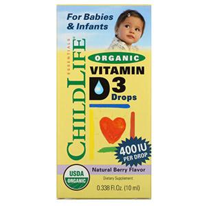 ChildLife, Органический витамин D3 в каплях, натуральный ягодный вкус, 400 МЕ, 10 мл